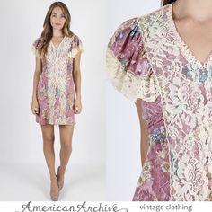 Pink 70s Hippie Boho Gunne Sax-style dress
