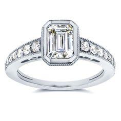 Annello by Kobelli 14k Gold Emerald Moissanite Bezel and 1/4ct TDW Diamond Ring