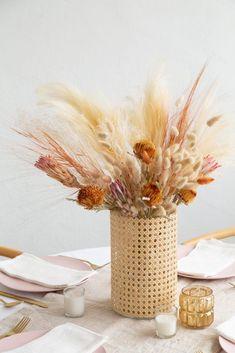 Faux Flowers, Dried Flowers, Boho Flowers, Round Glass Vase, Diy Hanging Shelves, Deco Boheme, Flower Vases, Rattan, Floral Arrangements