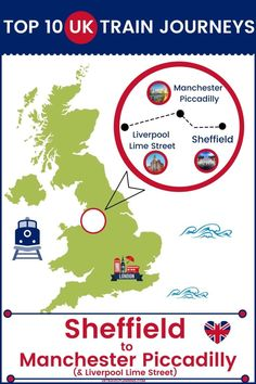 Traveling the UK by rail is a wonderful way to see the country. Check out our top 10 train trips and scenic rail journeys to take across the UK. Sheffield to Manchester Piccadilly #UK #travel #trains #rail #railway Manchester Piccadilly, Uk Rail, Journey Mapping, Train Journey, Train Travel, Sheffield, Liverpool, Trains, Britain