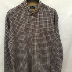 f4815fafd8d9f Details about Trader Bay 2XL Shirt Mens Brown Plaid Check Cotton Flannel  Long Sleeve