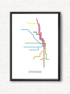 Chicago Transit Map Poster - Minimalistic Train Lines by TheCameraGraphic on Etsy
