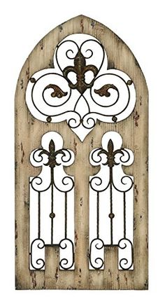 Metal Gate Wall Decor wood metal wall decor 57-inch, 16-inch wall decor | wood gate wall