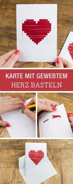 Grußkarte Basteln Gewebtes Herz Aus Papier Als Valentinstagsgeschenk Diy Greeting Cards For Valentine S Day