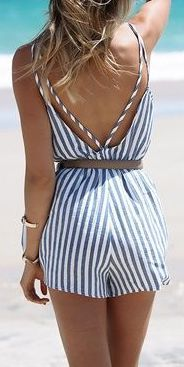 Cheap short playsuit, Buy Quality women jumpsuit directly from China overall jumpsuit Suppliers: Simplee Apparel Summer 2016 backless blue stripe women jumpsuit romper Elegant one piece sexy overalls Beach short playsuit Overall Shorts, Striped Playsuit, Striped Swimsuit, Short Jumpsuit, Bodycon Jumpsuit, Short Playsuit, Strapless Jumpsuit, Casual Jumpsuit, Playsuit Romper
