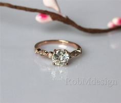 VS 6.5mm Moissanite Ring Art Deco Engagement Ring 14k Rose Gold Ring Wedding   Ring Gemstone Engagement Ring