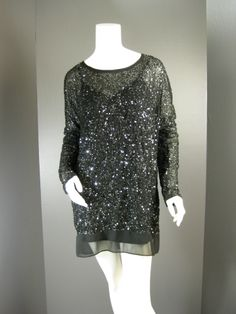 Sparkle New Year's Eve in this Gold Hawk Dress, Sequin & Beaded Slip Lined Sheer Long Sleeve Tunic Mini Party Dress NWT $111.75