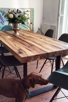 Timber Dining Table Ideas That Can Be Used As One With A Family Room - Page 37 of 48 - Fathinah Decor Timber Dining Table, Dining Table Design, Wooden Slab Table, Outdoor Dinning Table, Timber Furniture, Furniture For You, Furniture Ideas, Table Farmhouse, Esstisch Design