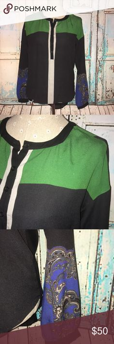 CLOVER CANYON~Hi-Low Colorblock Tunic Blouse ~S The back panel is semi-sheer polyester, but the rest is pure silk. Excellent condition! Clover Canyon Tops Tunics