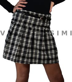 d28fa53244d5 Minigonna donna a pieghe e con zip. Gonna donna corta con fantasia scozzese.  La