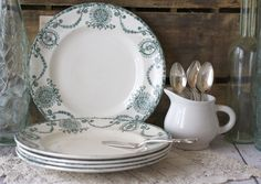 Antique French Faience Plates Set of 5 - Floral Teal Transferware Terre de Fer by Longwy - circa 1890's. $168.00, via Etsy.