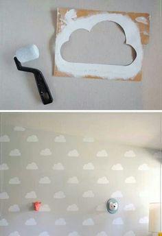 Cloud Kid's Room with Handmade Charlotte Stencils - Love love love! (DIY Cloud Kid's Room with Handmade Charlotte Stencils by Mer Mag) -