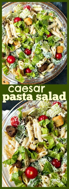 Caesar Pasta Salad – Penne pasta is tossed with your favorite Caesar salad ingredients to make for an incredible side dish for any occasion #recipe #salad #pastasalad #summer #sidedish #Caesar #appetizer