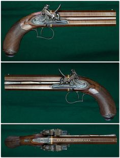 Double barrel flintlock pistol crafted by Joseph Egg of London, late 18th or early 19th century.