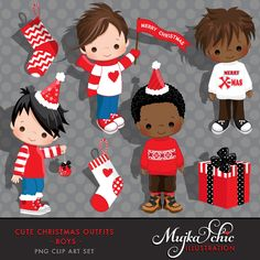 Cute Christmas Outfits for Boys Clipart Instant Download Christmas Graphics