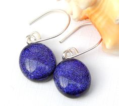 Purple Dichroic Glass Dangle Earrings - Fused Glass Jewelry - Mauve Art Glass Drop Earrings on 925 Sterling Silver Earwires by TremoughGlass on Etsy
