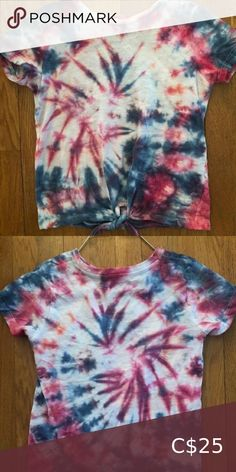 Girls tie dye size 7/8 tie up shirt My 9 year old ambitious daughter decided she wanted to open her own tie dye business and would like to give $5 for each piece sold to the food bank in her community.   Her name is Diana and she designs all her own clothing.   They are brand new and never been worn. Custom orders welcome.  Help support little dreams! Shirts & Tops Tees - Short Sleeve Tie Up Shirt, Tie Dye Shorts, Shirts For Girls, Kids Shirts, Pineapple Shirt, Under Armour Girls, Turtleneck Shirt, Food Bank, Tied Up