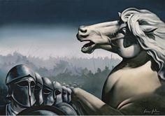 "Giannis Nikou, ""The warriors"", 155X110 cm, oil on canvas, 2009"