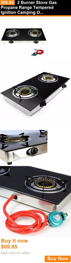 Camping Stoves 181386: 2 Burner Stove Gas Propane Range Tempered Ignition Camping Outdoor Glass Cooktop BUY IT NOW ONLY: $69.95