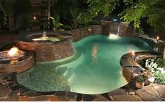 I really like this pool too. Like the ample shallow ledge, hot tub cascading into pool and all the different heights around the pool would have my kids jumping in and having a blast. I like the stone work on the other pool better though. Jacuzzi, Outdoor Pool, Outdoor Spaces, Outdoor Living, Outdoor Stone, Piscina Interior, Beautiful Pools, Beautiful Scenery, Dream Pools