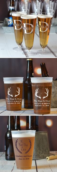 Serve beer in reusable plastic souvenir cups personalized with a design or monogram, the bride and groom's name and wedding date or a fun message to guests at your wedding beer bar. Whether your beer is self serve or tended, custom printed plastic cups are great conversation starters and double as take home wedding souvenirs, These beer cups can be ordered at http://myweddingreceptionideas.com/personalized_plastic_cups.asp
