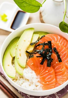 Salmon Sashimi Bowl with Avocado.