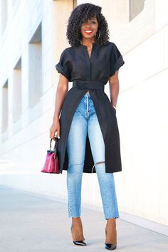 Short Sleeve Kimono Jacket + Ripped Ankle Length Jeans (Style Pantry) e50b790e27f25