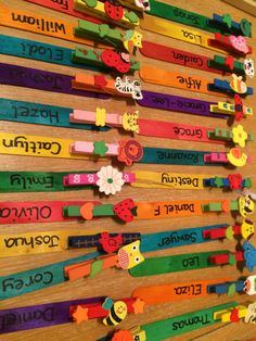 Pegs on lolly sticks to create a resource for self registration/ to use for completion of a task and many other uses Classroom Attendance, Attendance Chart, Eyfs Classroom, Classroom Birthday, Classroom Organisation, Primary Classroom, Classroom Ideas, Eyfs Activities, Nursery Activities