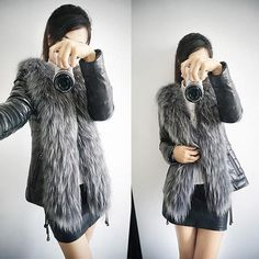 Warm Fur Collar short Leather Jacket Nichole series