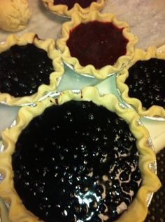 Blueberry pies before top crust