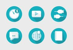 Modern light blue icons for personal and commercial use.