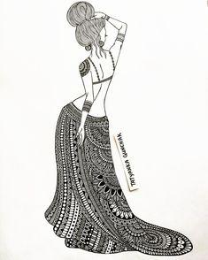 Doodle Art Drawing, Cool Art Drawings, Pencil Art Drawings, Colorful Drawings, Mandala Drawing, Fashion Design Sketchbook, Fashion Illustration Sketches, Fashion Design Drawings, Fashion Sketches