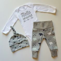 Baby Boy Newborn Take Home Outfit. Hello World Star. Arrows. Bears. Bring Home Baby Outfit Gift Set. Boy Coming Home Outfit. by mainegirlcreations on Etsy https://www.etsy.com/ca/listing/467106923/baby-boy-newborn-take-home-outfit-hello