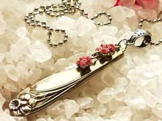 Lovely handmade silverware necklace cut from a vintage Daffodil spoon & specially re-created with a pretty pink flower rhinestone hanging