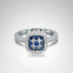 Gregg Ruth Diamond and Sapphire Ring in 18K White Gold (1/3 carat t.w.)
