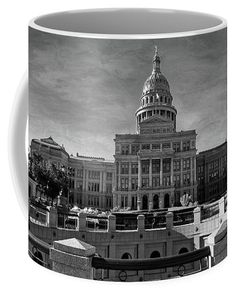 Texas State Capitol coffee mug. Also available as prints, posters, phone cases, pillows, tote bags, beach towels, coffee mugs, shower curtains, spiral notebooks, fleece blankets, yoga mats, and on T-shirts.
