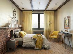 Спальня в стиле темный лофт