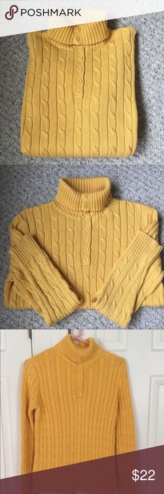 JONES NEW YORK JONES NEW YORK CABLE KNIT SWEATER. Beautiful yellow color. Excellent condition. The sweater has good body to it. Not a flimsy sweater. Jones New York Sweaters Cowl & Turtlenecks