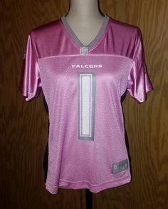 Reebok Atlanta Falcons Jersey Women's Pink Gray Large Nylon Mesh NFL Football #Reebok #AtlantaFalcons