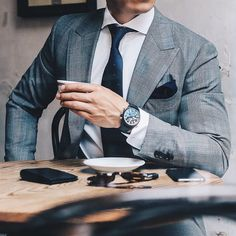 """Today's #details. Suit: @mjbale Watch: @iwcwatches Pilot Top Gun Ceramic Wallet: @oroton Shirt + Tie + Pocket Square: @mjbale Sunglasses:…"""