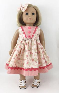 """Made For 18"""" Dolls Peach and Green Sleeveless Dress Matching Hair Bow"""