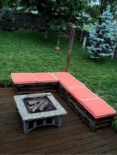 Pallet Seating, Great Lawn, Drop Deck in middle of lawn beneath firepit!!!