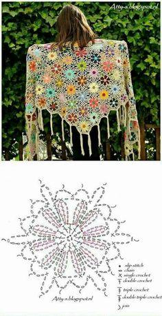 스카프뜨기 / 머플러뜨기도안 / 어깨숄뜨기 : 네이버 블로그 Crochet Shawl Free, Crochet Shawls And Wraps, Freeform Crochet, Knit Or Crochet, Crochet Motif, Crochet Double, Crochet Triangle, Crochet Squares, Crochet Flower Patterns