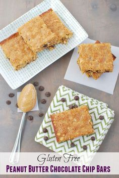In the mood to do some baking? These Gluten Free Peanut Butter Chocolate Chip Bars are a fun alternative to cookies!