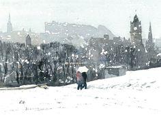 Edinburgh Winter Greeting Card Winter On Calton Hill