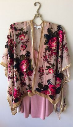 great for holiday layer some with fringe...one in photo sold out but you will get a rose velvet printed kimono,,email if you would like fringe or...