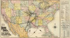 American Southwest railroad map, 1885.