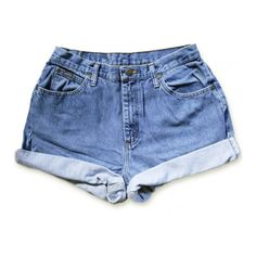 Vintage 90s Lee Medium Blue Wash High Waisted Rise Cut Offs Cuffed... ($25) ❤ liked on Polyvore featuring shorts, bottoms, denim shorts, vintage denim shorts, cuffed jean shorts, high rise denim shorts and denim cut-off shorts