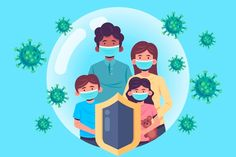 Family protected from the virus | Free Vector #Freepik #freevector #family #medical #health #mask Bacteria Shapes, Virus Symptoms, Flu Outbreak, Wuhan, Cute Illustration, Abstract Backgrounds, Flyer Design, Hiit, Vector Free