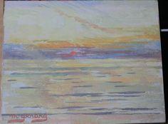 Tableau HSP Ostende  Coucher de soleil jaune  1984  Maud GERARD (1915-2013)